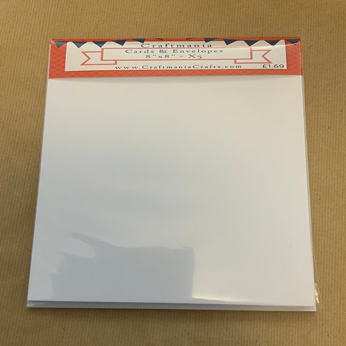 "White - 8"" x 8""- 5 x Cards & Envelopes"