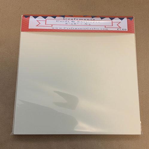 "Cream - 8"" x 8""- 5 x Cards & Envelopes"