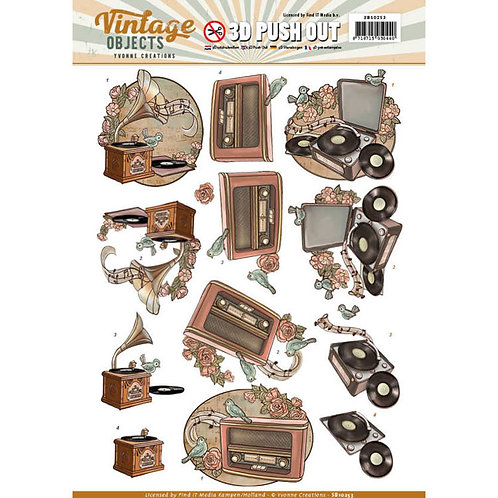 Vintage music - Die Cut Decoupage Sheet - A4