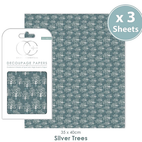 Decopatch papers - 3 sheet pack - Silver Trees