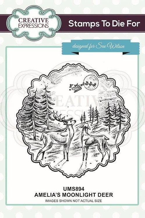 Amelia's - Moonlight Deer Foam Mounted Rubber Stamp*