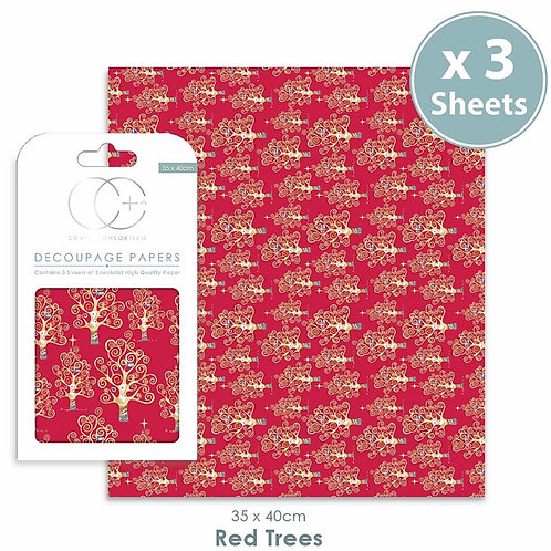 Decopatch papers - 3 sheet pack - Red Trees