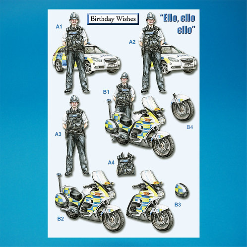 Police Die-Cut Decoupage - A4 Sheet