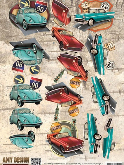 Car - Die Cut Decoupage Sheet - A4