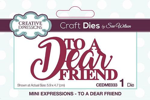 To A Dear Friend Die
