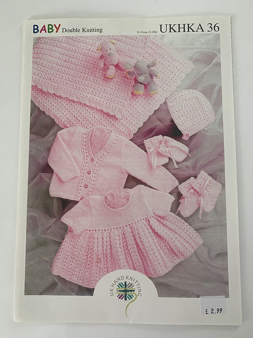 DK Baby Shawl, Dress, Cardigan, Hat, Mittens & Bootees Pattern
