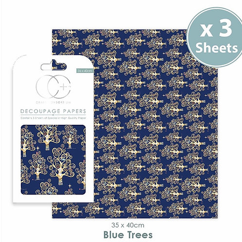Decopatch papers - 3 sheet pack - Blue Trees