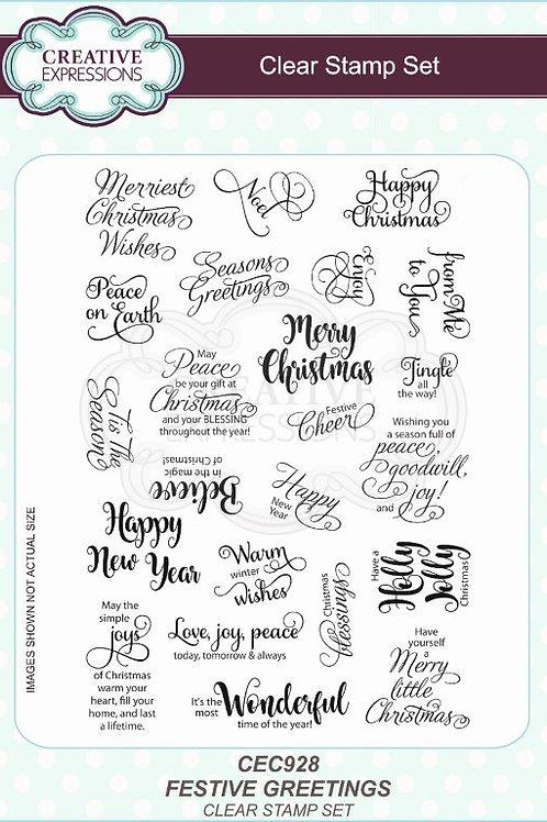 Festive Greeting Clear Stamp