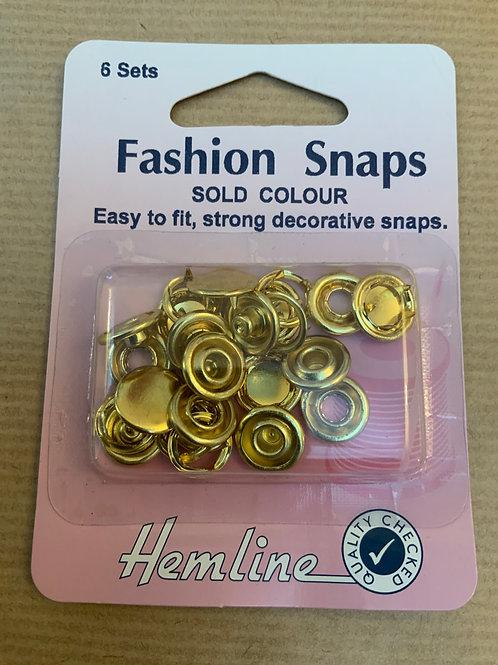 Fashion snaps - Brass - 6 sets