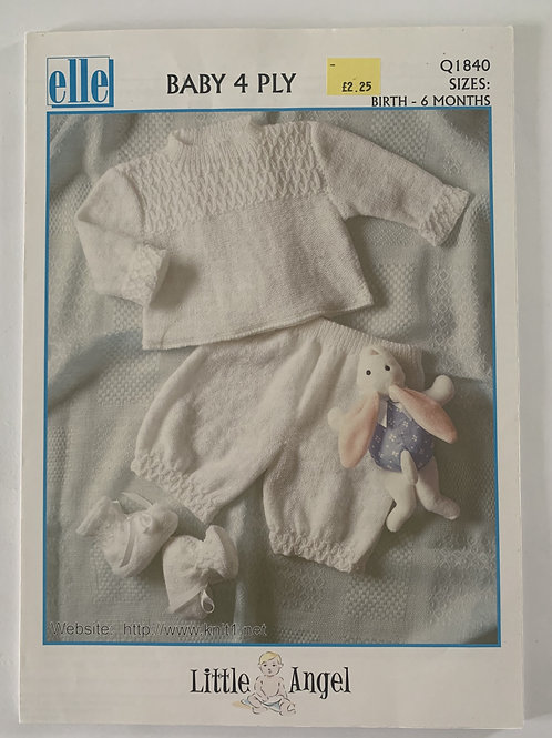 4ply Baby Sweater, Trousers & Bootees Pattern