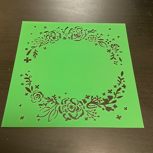 """Floral Wreath 6""""x6"""" Stencil"""