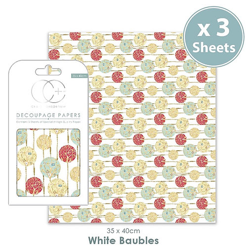Decopatch papers - 3 sheet pack - White Baubles