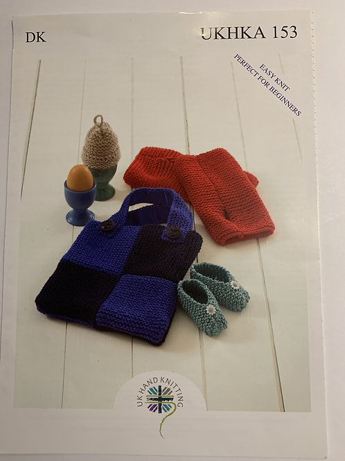 DK Baby Shoes, Egg Cosy, Wrist Warmers & Bag Pattern