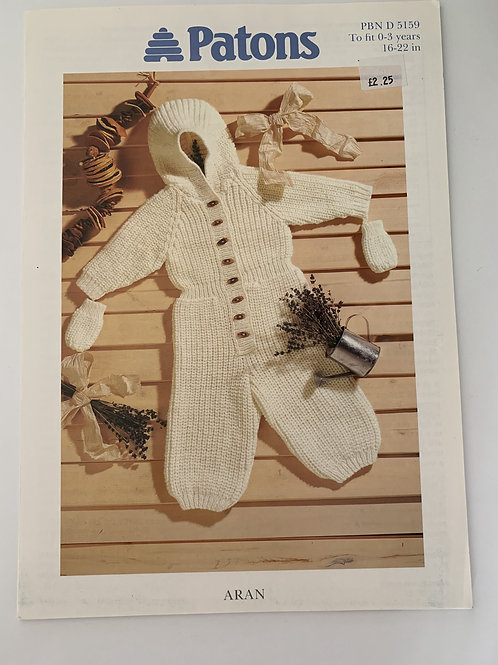 Aran Baby All In One Suit & Mitts Pattern