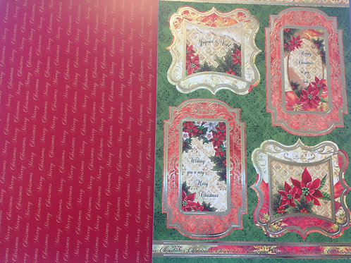 Christmas Die Cut Folied Topper and Backing Sheet