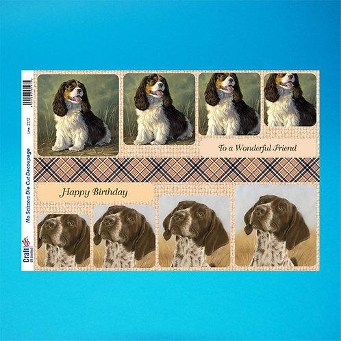 Dog Die-Cut Decoupage - A4 Sheet