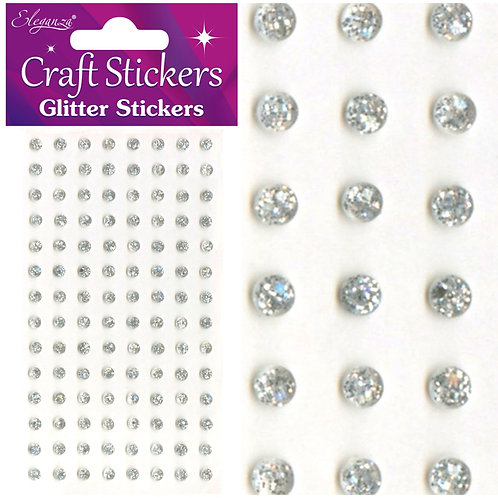 4mm Glitter gems - Silver