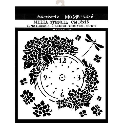 Media Stencil - Clock - 18cm x 18cm