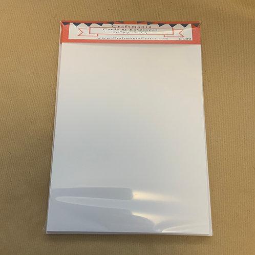 "White - 10"" x 7"" - 5 x Cards & Envelopes"