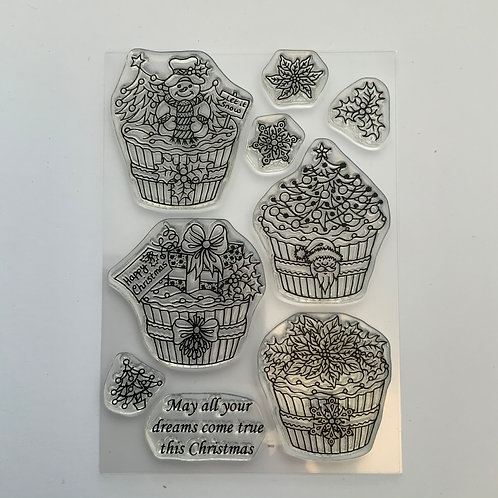A6 Clear Stamp - Christmas Cupcakes