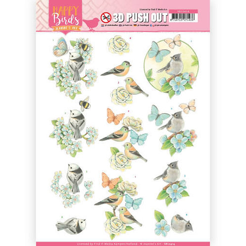 Flowers and birds - Die Cut Decoupage Sheet
