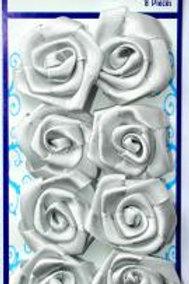 8 Ribbon Roses - Satin ~ Silver