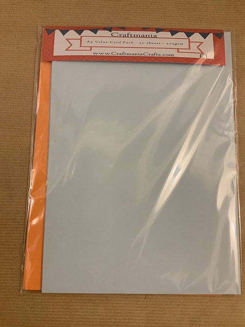 A5 Card Pack - 20 sheets - 10 orange & 10 light blue