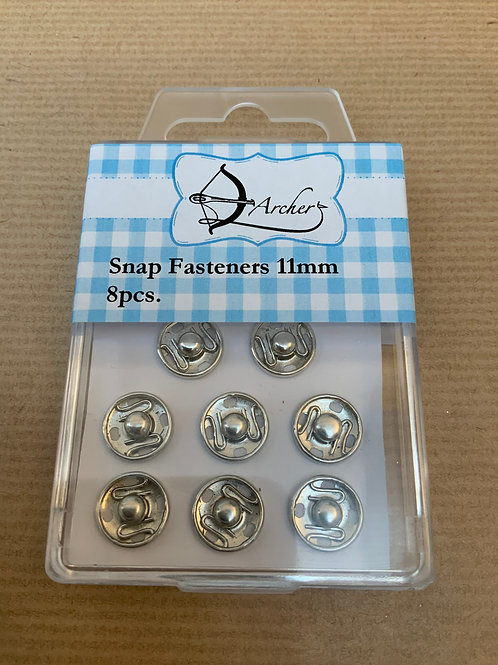 11mm Snap Fastners - Silver- 8pcs