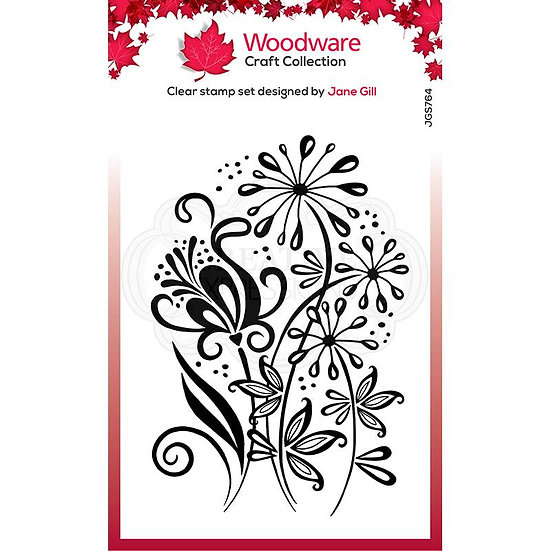 Curly Petals  - Clear Stamp -  Woodware