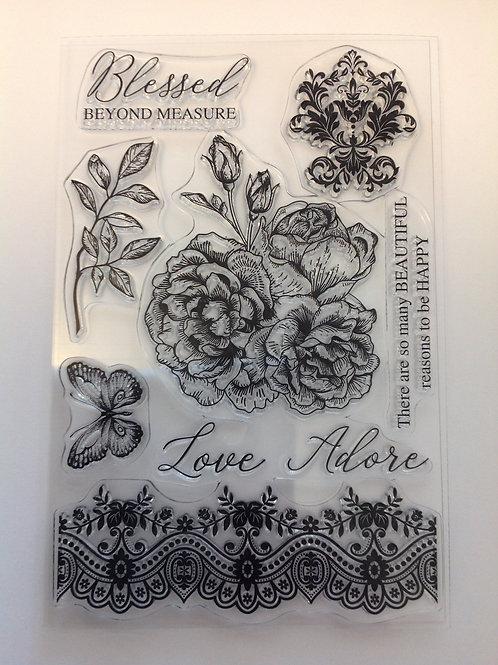 Designer Floral Clear Stamp