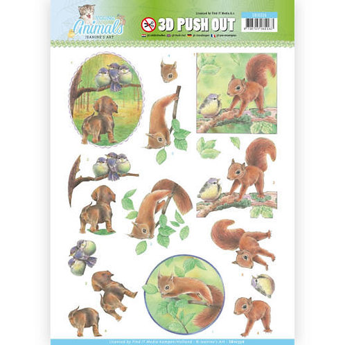 Squirrel & Dog- Die Cut Decoupage sheet