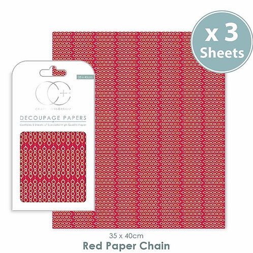 Decopatch papers - 3 sheet pack - Red Paper Chain