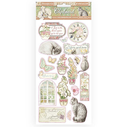 Chipboard Stickers - Orchids And Cats