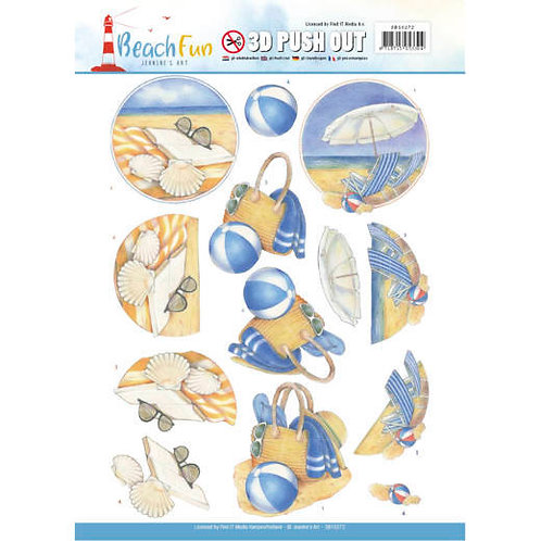 Beach Die Cut Decoupage Sheet - A4