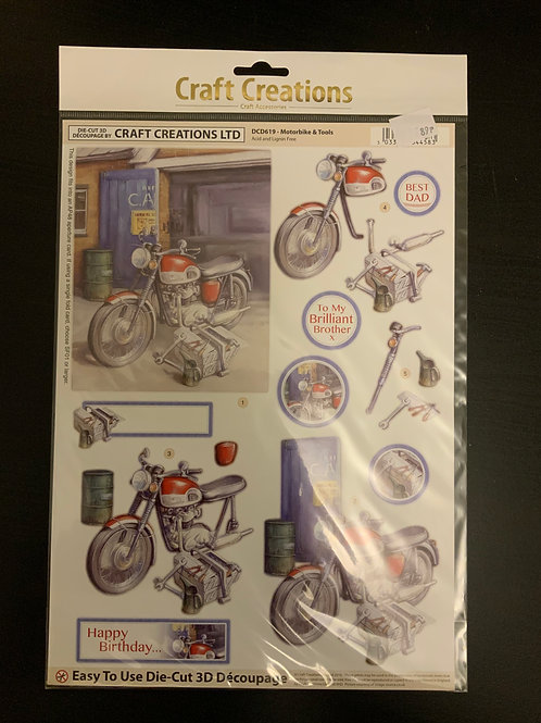 Motorbike Die Cut Decoupage Sheet - A4