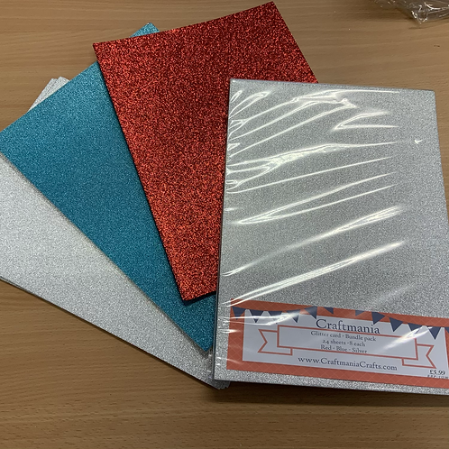 BUNDLE PACK - Glitter card - 3 colours - 8 sheets of each