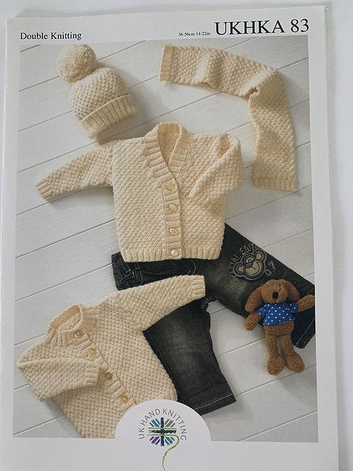 DK Baby Hat, Scarf & Cardigan Pattern