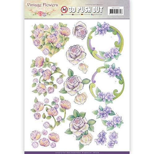 Vintage Flowers- Die Cut Decoupage Sheet
