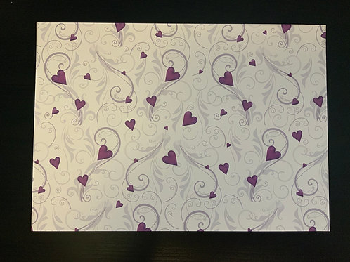 A4 Card- SALE - Lilac Hearts