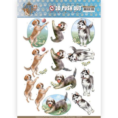 Dogs - Die Cut Decoupage Sheet - A4