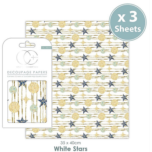 Decopatch papers - 3 sheet pack - White Stars
