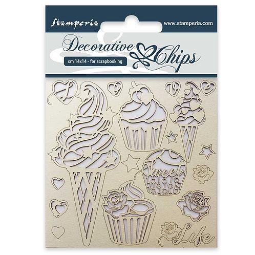 Decorative Chips - Ice Cream -14cmx14cm