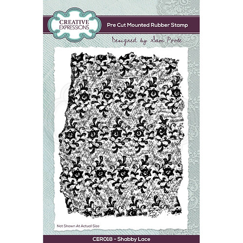 Shabby lace - Pre cut rubber stamp*