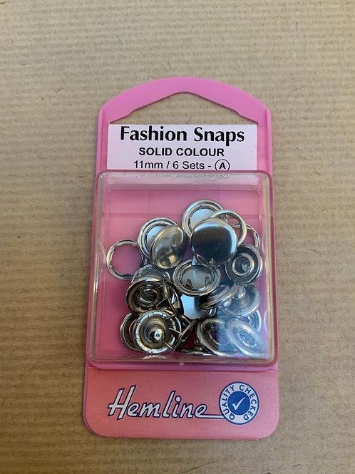 Fashion snaps - Silver - 6 sets