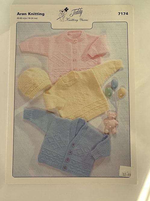 Aran Children's  Sweater, Cardigan & Hat  Pattern