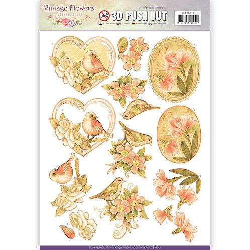 Flowers & Birds Die Cut Decoupage Sheet - A4
