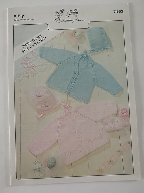 4ply Baby Cardigan, Bonnet & Mittens Pattern
