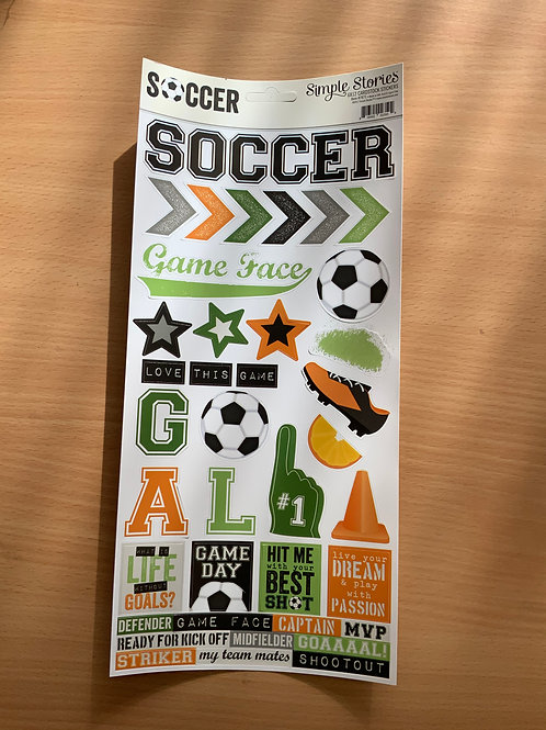 "Soccer - Sticker Sheet - 6""x12"""