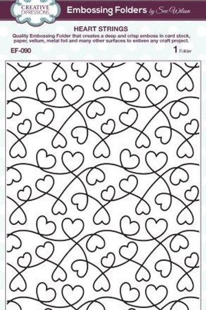 Heart strings embossing folder