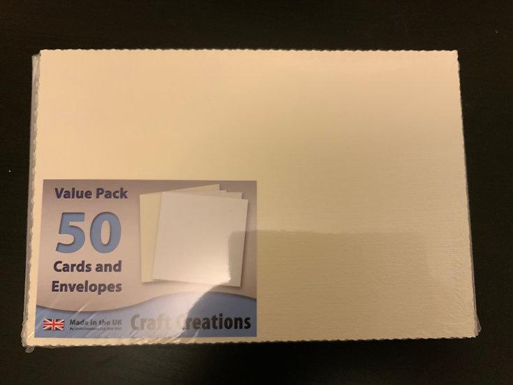 Cream Waffle - Deckle C5 Cards & Envelopes - 50